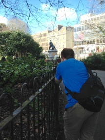 Taking a picture of John taking a picture of a robin